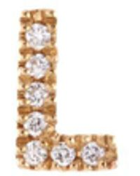 Loquet London | Diamond 18k Yellow Gold Letter Charm – L | Lyst