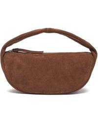 BY FAR Slouchy Hobo' Top Handle Suede Shoulder Bag - Brown
