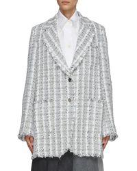 Thom Browne Gunclub Check Tweed Jacket - Grey
