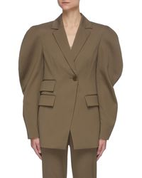 Tibi 'cassius' Ruch Balloon Sleeve Wool Blend Blazer - Brown