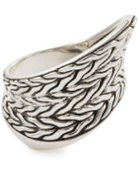 John Hardy - 'classic Chain' Weave Effect Silver Wave Saddle Ring - Lyst