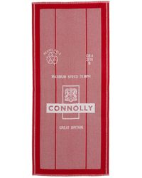 CONNOLLY 'postbag' Logo Intarsia Lambswool-cashmere Scarf - Red