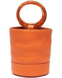 Simon Miller 'bonsai 20' Acetate Ring Handle Leather Bucket Bag - Orange