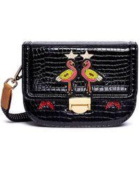 Venna - Flamingo Appliqué Star Patch Leather Crossbody Bag - Lyst