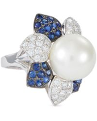 LC COLLECTION - Diamond Sapphire South Sea Pearl 18k White Gold Ring - Lyst