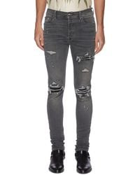Amiri Mx1' Suede Patch Distressed Skinny Jeans - Gray