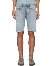 Denham Razor' Repair Detail Knee Length Denim Shorts - Blue