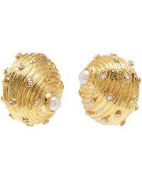 Kenneth Jay Lane - Glass Crystal Pearl Seashell Shaped Clip Earrings - Lyst