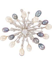 CZ by Kenneth Jay Lane - Fresh Water Pearl Cubic Zirconia Starburst Brooch - Lyst