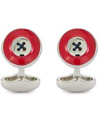 Babette Wasserman Enamel Button Cufflinks - Red
