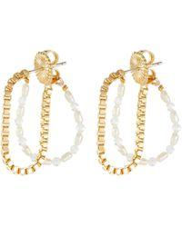 OLIVIA YAO Freshwater Pearl Moonstone Gold Plated Chain Demilune Hoop Earrings - Metallic