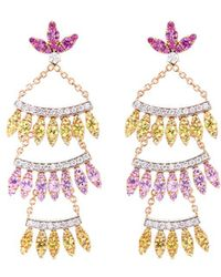FerrariFirenze 'sole' Diamond Sapphire 18k Rose Gold Tiered Drop Earrings - Multicolor