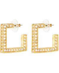 Kenneth Jay Lane - Crystal Embellished Square Hoop Earrings - Lyst