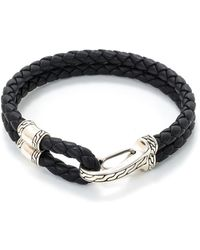 John Hardy - Silver Braided Leather Hook Bracelet - Lyst