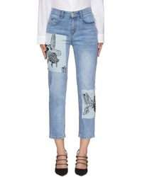 Hellessy Hummingbird Graphic Print Patch Crop Denim Jeans - Blue