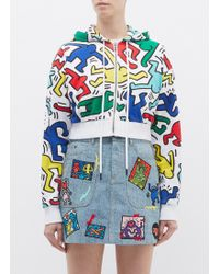 Alice + Olivia - X Keith Haring Foundation 'barron' Dancing Man Print Cropped Zip Hoodie - Lyst