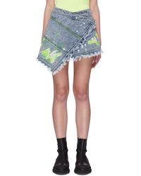 Angel Chen Paint Splatter Mini Wrap Skirt - Blue