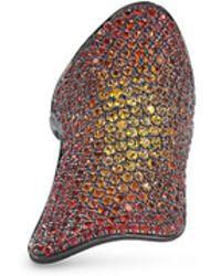 Lynn Ban - 'pavé Armor' Ombré Sapphire Black Rhodium Silver Ring - Lyst