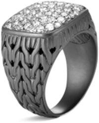 John Hardy 'classic Chain' Diamond Rhodium Silver Signet Ring - Metallic