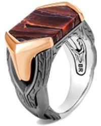 John Hardy 'asli Classic Chain' Red Tiger Iron Sterling Silver Bronze Signet Ring - Metallic