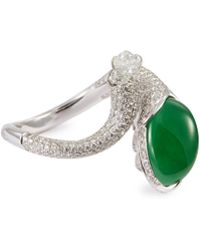 LC COLLECTION - Diamond Jade 18k White Gold Open Ring - Lyst