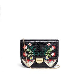 Venna - Floral And Heart Patch Croc Embossed Leather Bag - Lyst
