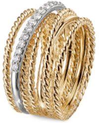 David Yurman Diamond 18k Yellow Gold Multi Row Crossover Wide Band Ring - Metallic
