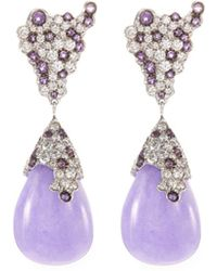 Roberto Coin - Diamond Jade 18k White Gold Teardrop Earrings - Lyst