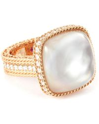 Roberto Coin - 'roman Barocco' Diamond Mother-of-pearl 18k Rose Gold Ring - Lyst