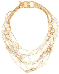 Kenneth Jay Lane Row Rhinestone Pearl Layer Necklace - Metallic