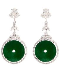 LC COLLECTION - Diamond Jade 18k Gold Cutout Disc Drop Earrings - Lyst