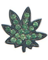 Loquet London 18k Black Gold Tsavorite Hemp Leaf Charm - Metallic