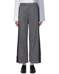 The Keiji Drawcord Cuff Pinstripe Front Patchwork Suiting Pants - Gray