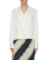 3.1 Phillip Lim Satin Tuxedo Blouse - White