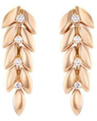 FerrariFirenze 'spiga' Diamond 18k Rose Gold Vine Earrings - Metallic