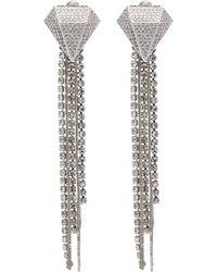 Venna - Glass Crystal Chain Fringe Drop Earrings - Lyst