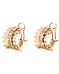 FerrariFirenze 'sole' Diamond 18k Yellow Gold Hoop Earrings - Metallic