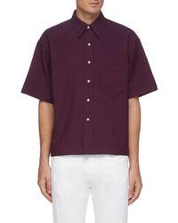 Karmuel Young 'cuboid' Wool Short Sleeve Shirt Men Clothing Shirts Short Sleeves 'cuboid' Wool Short Sleeve Shirt - Purple