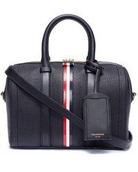 Thom Browne Vertical Stripe Leather Bag - Black