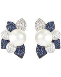 LC COLLECTION Diamond Sapphire South Sea Pearl 18k White Gold Earrings - Metallic