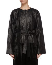 Ms Min Belted Textured Jacket - Black