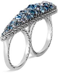 John Hardy 'classic Chain' Calcite Siliconite Topaz Silver Two Finger Ring - Metallic