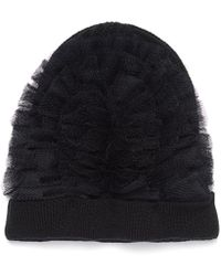 Bernstock Speirs Tulle Wool Chunky Knit Beanie - Black