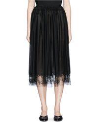 Ms Min Floral Lace Hem Wool Blend Skirt - Black