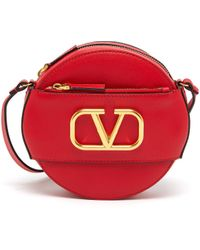 Valentino - 'vlogo' Leather Round Crossbody Bag - Lyst
