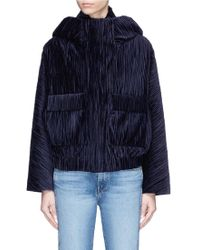 Ffixxed Studios 'home' Plissé Pleated Velvet Hooded Bomber Jacket - Blue