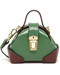 MANU Atelier Micro Denim Top Handle Leather Shoulder Bag - Green