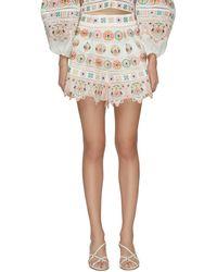 Zimmermann Brighton' Embroidered Ruffle Hem Shorts - Multicolor