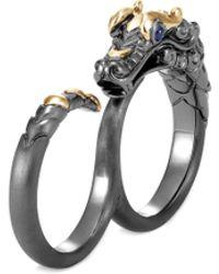 John Hardy 'legends Naga' Sapphire 18k Gold Silver Rhodium Two Finger Ring - Metallic