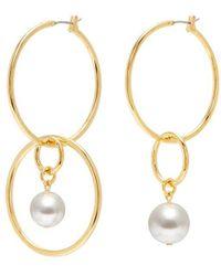 Joomi Lim - 'not Your Basic' Swarovski Pearl Mismatched Medium Interlocking Hoop Earrings - Lyst